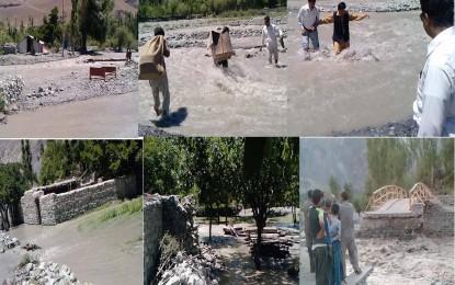 وادی یاسین میں سیلاب کی تباہ کاریاں، سڑکوں کو شدید نقصان