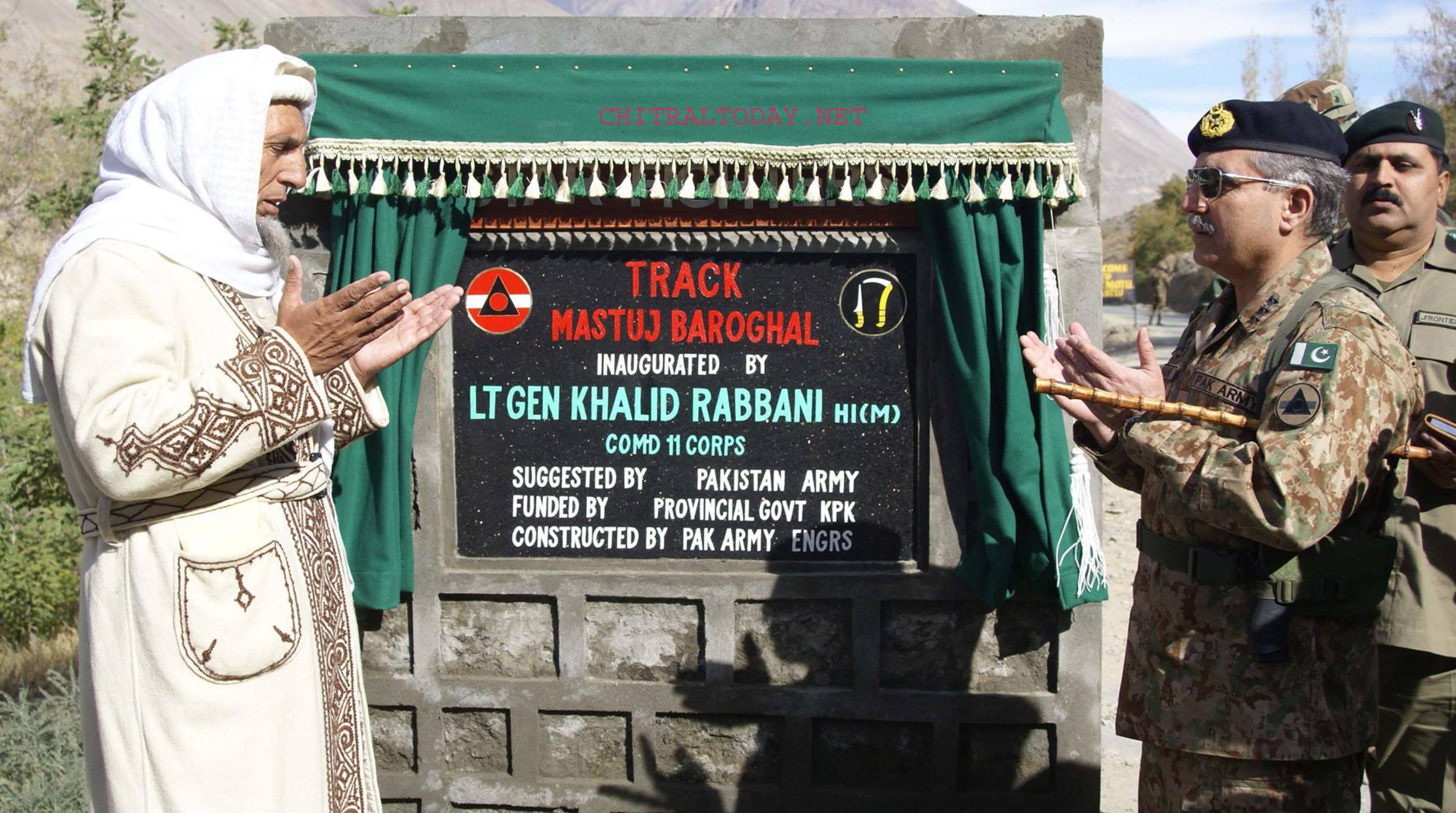 وادی بروغل (چترال) تک رابطہ سڑک کی تعمیر مکمل، لیفٹیننٹ جنرل خالد ربانی نے افتتاح کر دیا