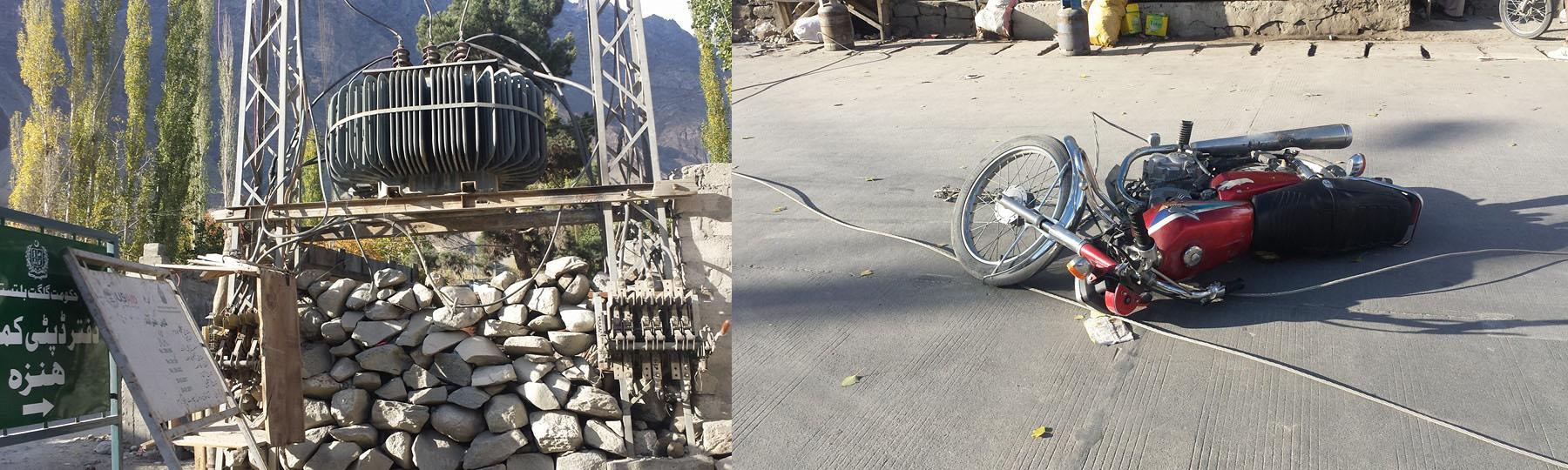 ہنزہ، علی آباد میں گیارہ ہزار والٹ بجلی کی لائن موٹر سائیکل پر گر گئی