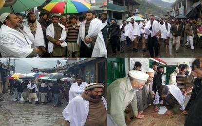 چترال کے علاقے دروش میں درجنوں افراد نے کفن پوش ریلی نکالی، چترال سکاؤٹس کی طرف دکانوں پر لگائے گئے تالے توڑ دئیے