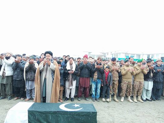 کشمیر میں لینڈ سلایڈنگ کی ذد میں آکر شہید  ہونے والے NLI کے جوان ارشاد حسین کو نیو رنگا سکردو میں فوجی اعزاز کے ساتھ سپرد خاک کر دیا گیا