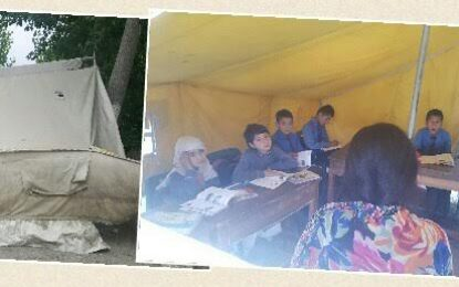 ہنزہ: زلزلے سے متاثرہ کلاس رومز کی مرمت نہ ہونے کی وجہ سے طلبہ خیموں میں تعلیم حاصل کر رہے ہیں