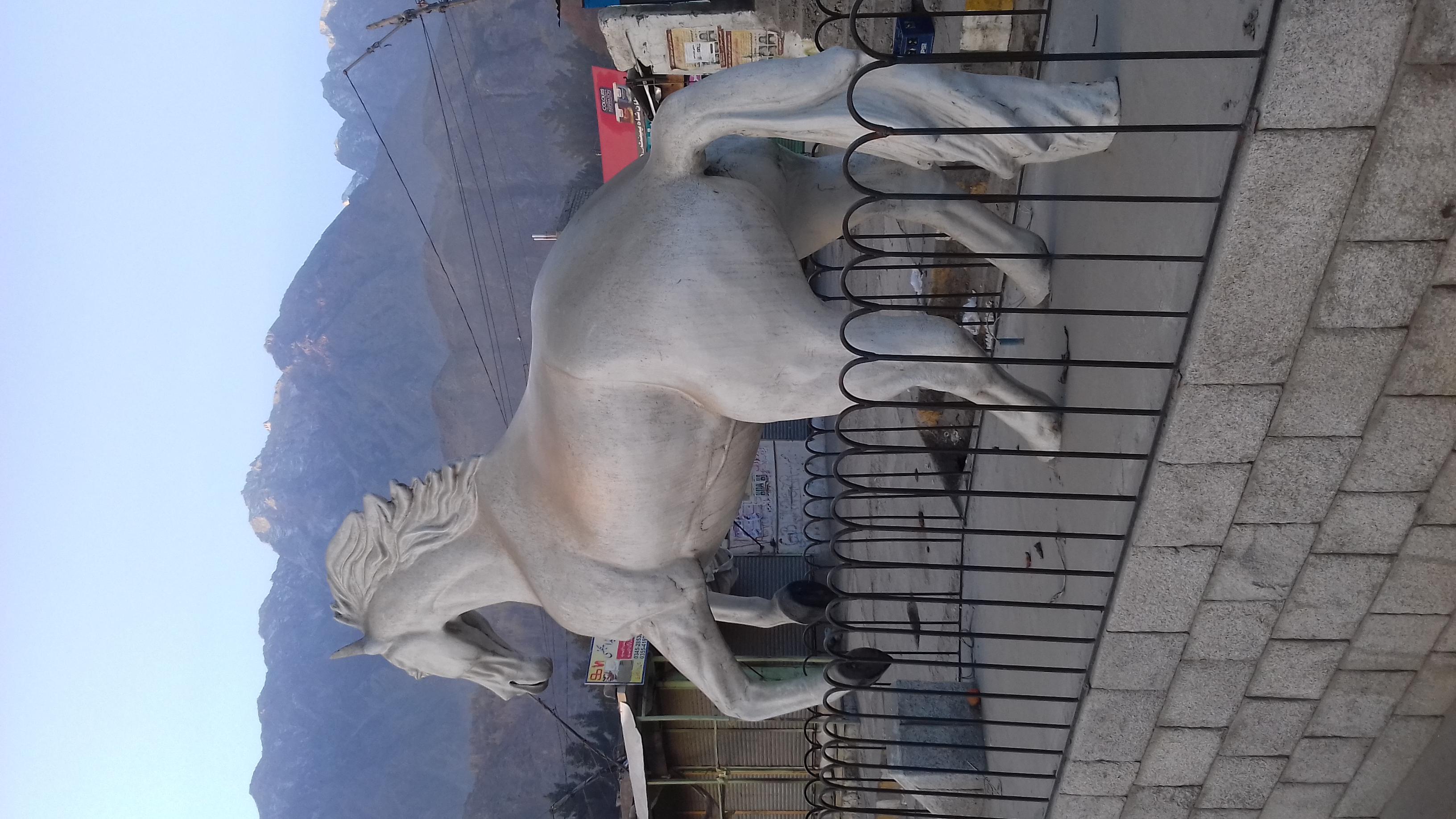 گاہکوچ بازار میں استادہ گھوڑے کا مجسمہ اور افسرِ شاہی
