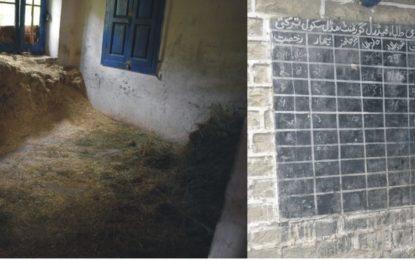 کھرمنگ کے سرحدی علاقے ترکتی میںواقع گورنمنٹ مڈل سکول کی عمارت کو مقامی بااثر شخصیات نے جانوروںکا باڑا بنا ڈالا
