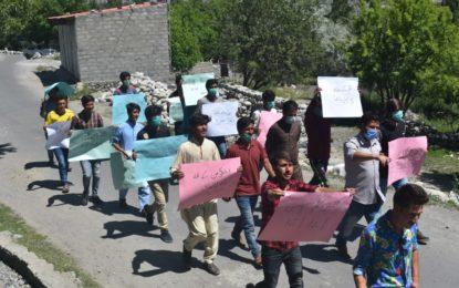 اشکومن میں بھی ایس سی او کی ناقص انٹرنیٹ سروس کے خلاف احتجاجی مظاہرہ