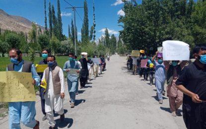 یاسین میں سپیشل کمیونیکیشن آرگنائزیشن (ایس سی او) کے خلاف احتجاجی مظاہرہ، انٹرنیٹ اور موبائل سروس بہتر بنانے کا مطالبہ