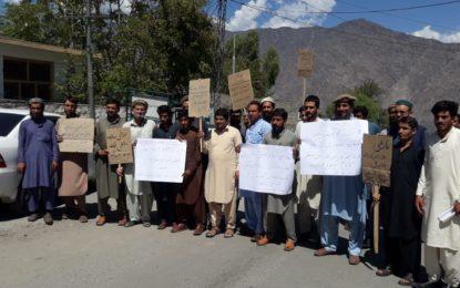 چلاس: عارضی ملازمین کا عدم مستقلی کے خلاف احتجاجی مظاہرہ